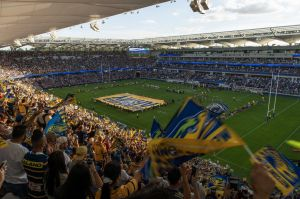 First home game for Parramatta Eels in their new stadium - Bankwest Stadium, V West Tigers.