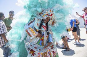 Members of the Apache Hunters, Black Hawk Hunters, and Wild Red Flames Mardi Gras Indians perform at the New Orleans ...