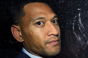 Folau leaving his Code of Conduct hearing.