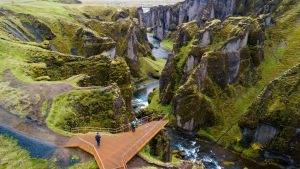 Fjaorargljufur canyon in Iceland. Justin Bieber's music video I'll Show You was filmed at the canyon and seen by millions
