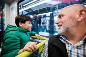 NEWS: opening of Sydney's first metro line - Northwest Metro. Daniel Sarina, 7 and father Tod from Windsor Downs in ...