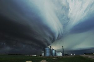 A massive mothership€ tornadic supercell storm menaces the town of Imperial, Nebraska. The tornado alley region and mid ...