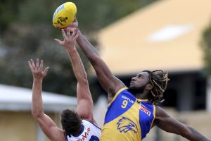 West Coast Eagles ruckman Nic Naitanui  in action for the West Coast Eagles WAFL team against the East Fremantle Sharks ...