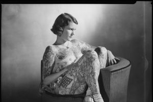 Fred Harris Tattoo Studio photos as part of exhibition by State Library of NSW. Image shows Betty Broadbent. Photo: PIX ...