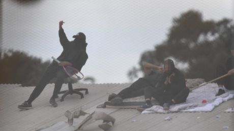 Detainees during the riot at the Frank Baxter Juvenile Justice Centre, Kariong.