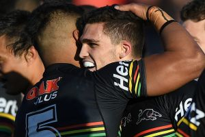 Nathan Cleary scored four tries in a club-record haul over the Knights.