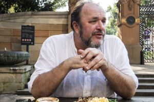 Writer William Dalrymple, having breakfast at Piccolo Me Cafe.