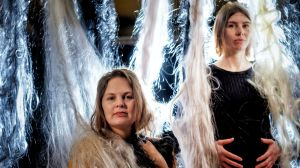 Bumping in: Annalise Matthews and Robyn Mcmicking are among the pregnant women who open The Rabble's show Unwoman.