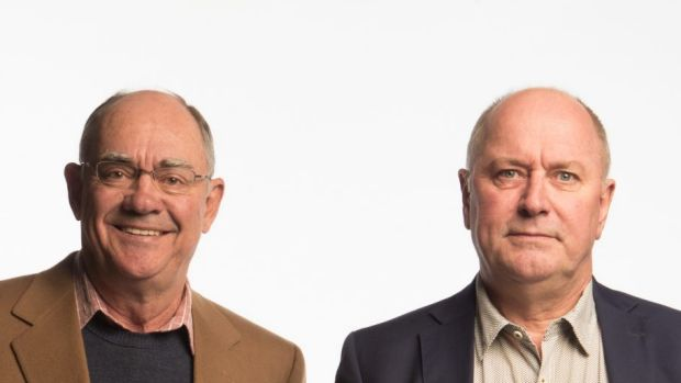 3AW's John Burns, left, has announced he intends to step-down from his top-rating breakfast show with Ross Stevenson in ...