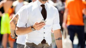 It's normally hidden under a jacket but the vest is a saviour for style in summer.
