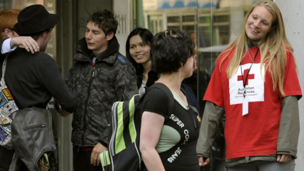 Fundraisers for The Red Cross hit shoppers in Melbourne's CBD.