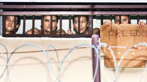 Afghans in the immigration centre at Tanjung Pinang, Indonesia.