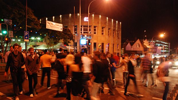 Night on the town ... revellers swarm into Fortitude Valley on weekends.