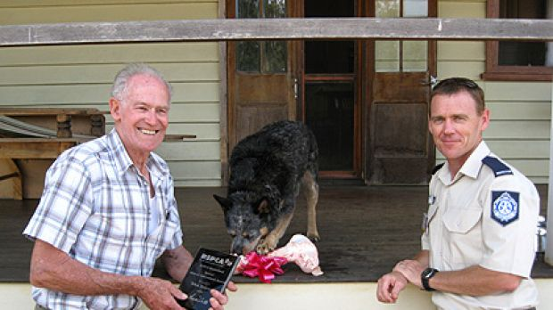 Jim Touzeau with his dog Teka and RSPCA Queensland's Bundaberg Inspector Patrick Yeates.