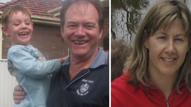 Worldwide search... Ken Thompson with his missing son Andrew; and (right) mother Melinda. Ms Thompson and Andrew were ...