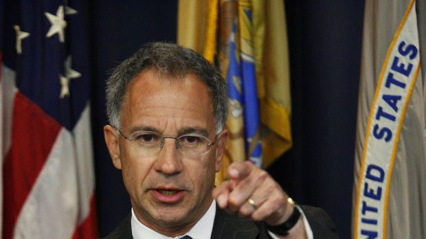 New Jersey Attorney Paul J. Fishman speaks to the media. US prosecutors have charged five foreign nationals with payment ...