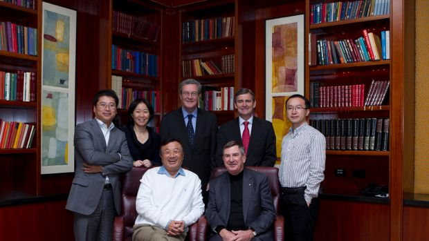Huawei's first local board was formed in Australia in June 2011. From the left: Jeff Liu, regional president; Chen ...