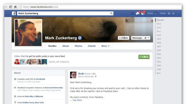 By posting on Zuckerberg's wall, Shreateh also violated Facebook's responsible disclosure policy.