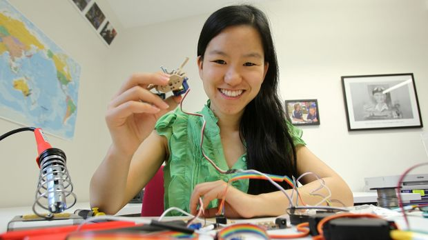 Young Australian of the Year, Marita Cheng assembling a robot at Melbourne University last year.