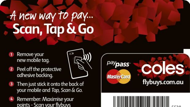 The Coles credit card Pay Tag sticker to be peeled off and attached to a phone - the barcode is for FlyBuys.