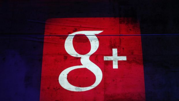 The Google+ logo is seen at a Google event in San Francisco.