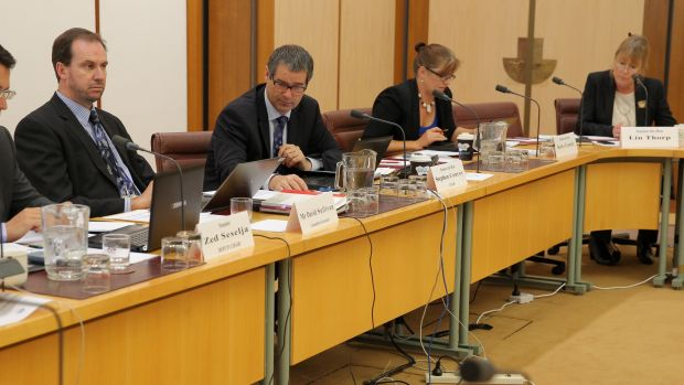Senator Stephen Conroy during a Senate hearing with NBN Co at Parliament House in Canberra on Wednesday 11 December 2013.