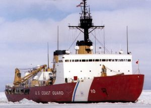 Polar Star, the US Coast Guard icebreaker, working the ice channel near McMurdo, Antarctica.