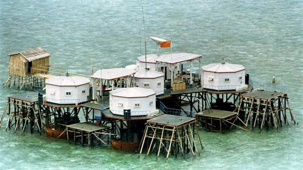 A structure built by China in one of the islands in the Spratlys: China's island building has alarmed its neighbours.