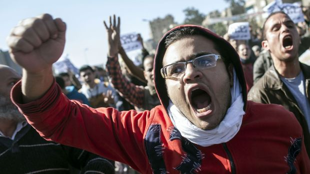 Divided land: A Muslim Brotherhood supporter demonstrates in Cairo after the bombings.