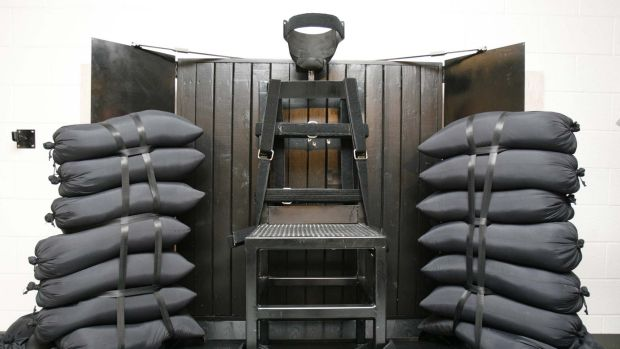 The firing squad execution chamber at the Utah State Prison in Draper, Utah.