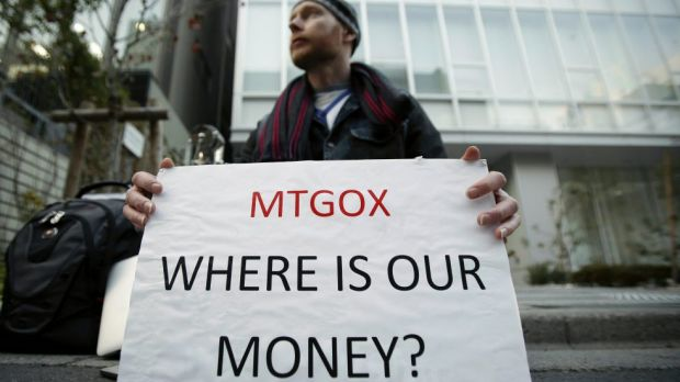 Mt. Gox customer Kolin Burges protests outside the company's headquarters in Tokyo.