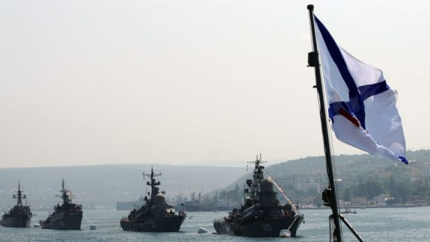 On the move: Russian Black Sea Navy ships.