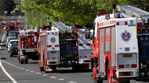 When disaster strikes: RFS and NSW Fire and Rescue on the Great Western Highway in Blackheath in the Blue Mountains, ...