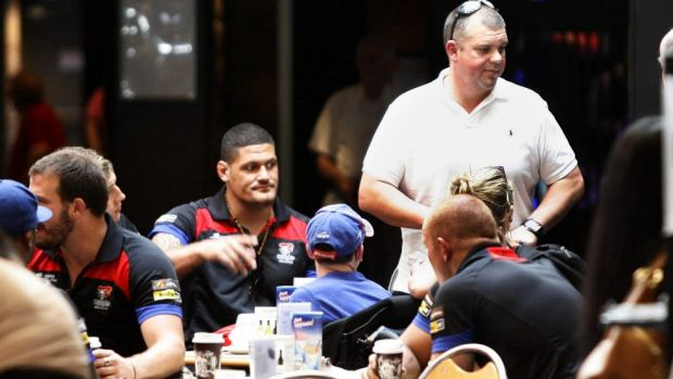 Nathan Tinkler, pictured with Knights players last year, may be forced to sell the club.
