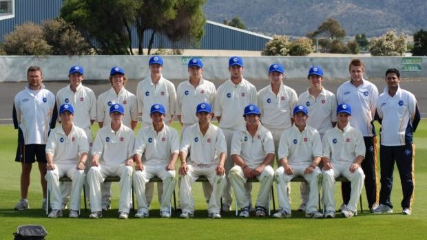 Nathan Lyon, front and centre, captains the ACT under-19s team.