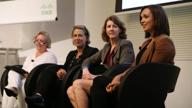 Form left, social commentator and broadcaster Jane Caro, Sense-T founder Ros Harvey, Cisco's Janet Ramey and Telcos ...