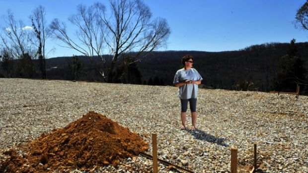 Bonny Francis on her burnt-out plot of land at Mount Disappointment.