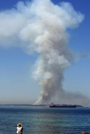 Viewed across The Rip from Point Lonsdale, this pillar of smoke from a fire on Point Nepean yesterday was an ominous warning.
