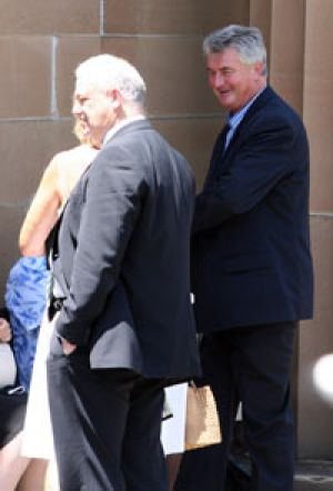 Marriage examined ... millionaire builder Frank Haschka (right) outside court.