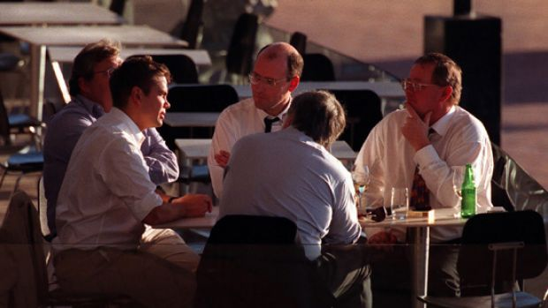Col Allan (far right) has drinks at Sydney's Wokpool with Lachlan Murdoch, Piers Akerman and Mark Day.