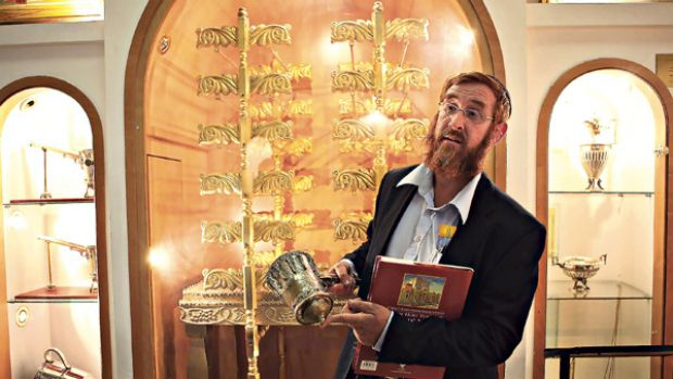 Ready ... Yehuda Glick, the director of the Temple Institute, holds a sacred vessel specially made for the Messiah's coming.