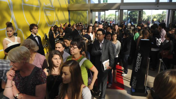 Eager shoppers line up at Chadstone Shopping Centre.