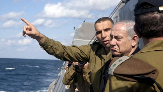 Making waves ...  Benjamin Netanyahu visits an Israeli ship off the coast of Haifa. Plans to expand Jewish ...