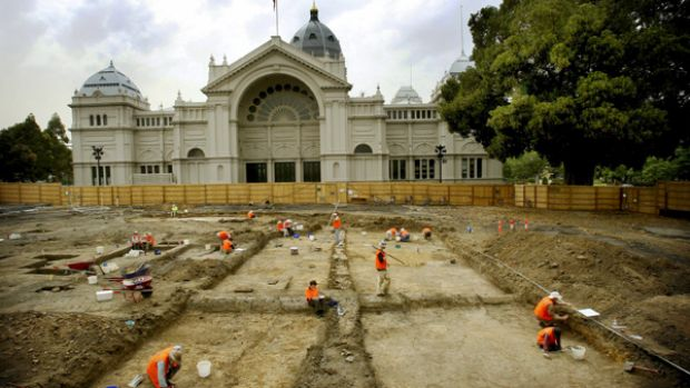 Archaeologists at work on the western side of the Exhibition Buildings have exposed the footings of a German kiosk that ...