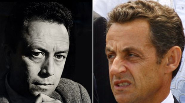 Albert Camus (left), whose remains lie near Avignon and Nicolas Sarkozy (right), accused of indulging in gimmickry.