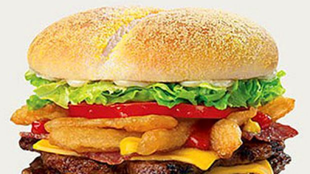 Whopper of a salt hit ... the Hungry Jacks Double Angry Angus hamburger.