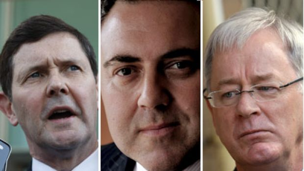 Contenders?... Kevin Andrews, left, Joe Hockey, centre, or Andrew Robb.