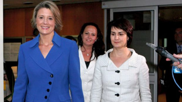 Done and dusted... Kristina Keneally emerges from the caucus meeting that anointed her the next Labor premier of NSW.