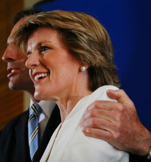 Opposition Leader Tony Abbott gives his deputy Julie Bishop THAT hug. Mr Abbott, we have moved on from patronising ...