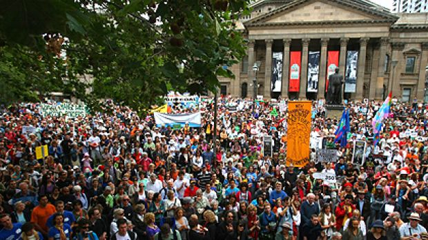 An estimated 40,000 people converged outside the State Library as part of this year's ''re-energised'' Walk Against ...
